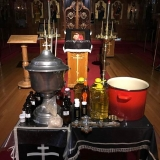 Ingredients for the Chrism are assembled