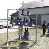 Andrei Diachkov, a master bell ringer from Russia, does a demonstration on the new bells.