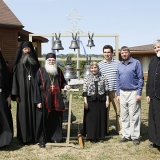 Father Nathaniel, Father Cassian, Abbott Luke, Aida-Elizabeth Airapetov, Michael Vertuoz, Andrei Diachkov and Nicolas Svetlovsky, a deacon from Rawdon, pose beside the new bells.