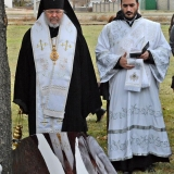 Archbishop Irenée & Protodeacon Jesse pause to reflect before Parastas for Archimandrite Alexander at graveside
