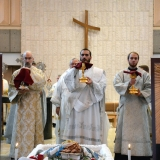 Deacon Kevin, Protodeacon Jesse & Deacon Kirill present the Holy Mysteries to the faithful