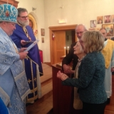 His Eminence awards the St. Tikhon medal to Mrs. Olga Mogiljansky