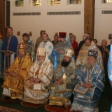 Concelebrating hierarchs and clergy.